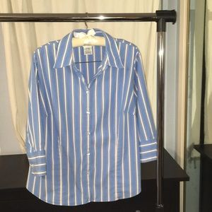 Stretch fitted striped button-down with 3/4 sleeve